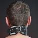 BNMW - Hoge lederen halsband met RVS
